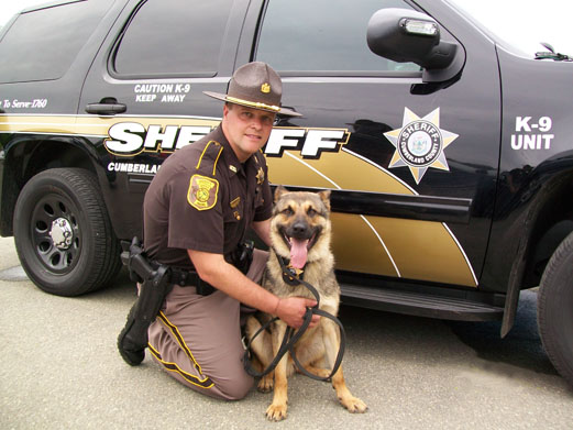Sheriff's Deputy and Dog in Front of Vehicle 1